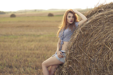 beautiful girl in a field at sunset