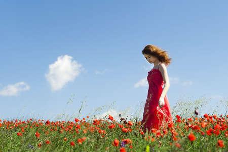 low angle views: La muchacha hermosa en el campo de amapolas
