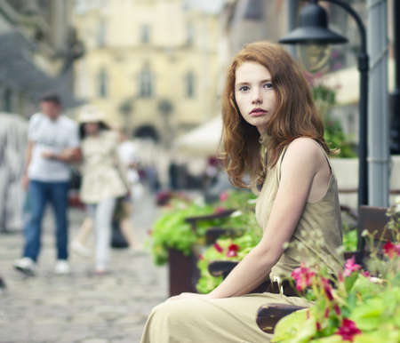 portrait of a beautiful girl on the streets of the beautiful city Stock Photo
