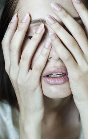 desprecio: retrato triste de una hermosa ni�a Foto de archivo