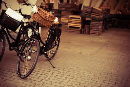 Vintage bicycle with a basket