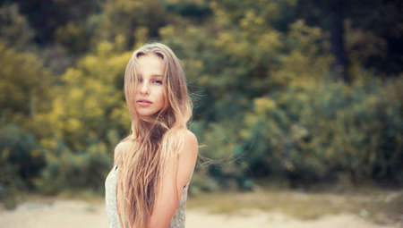beautiful blonde outdoors in the park Stock Photo - 25985686