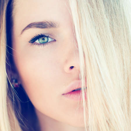 portrait of a beautiful blonde close-up  Stock Photo