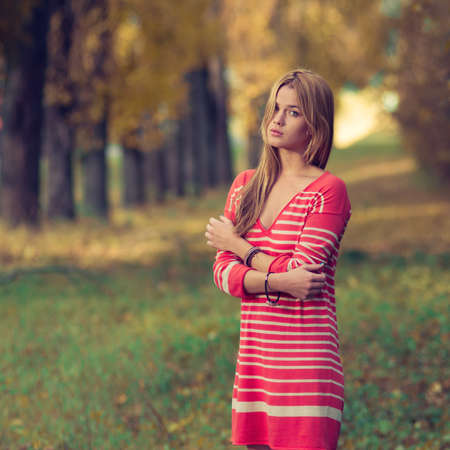 beautiful young girl in the park  Stock Photo