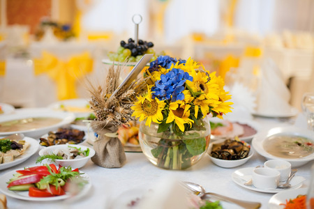 gorgeous wedding decor on table with sunflowers