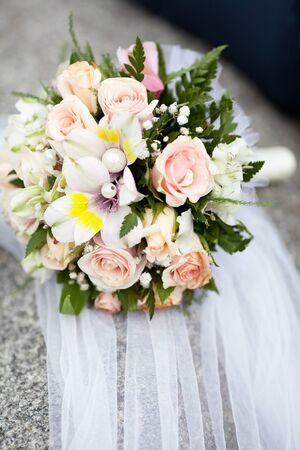 alstromeria: Colorful wedding bouquet with roses and alstromeria Stock Photo
