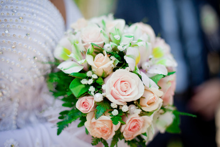 alstromeria: Colorful wedding bouquet with roses and alstromeria Stock Photo