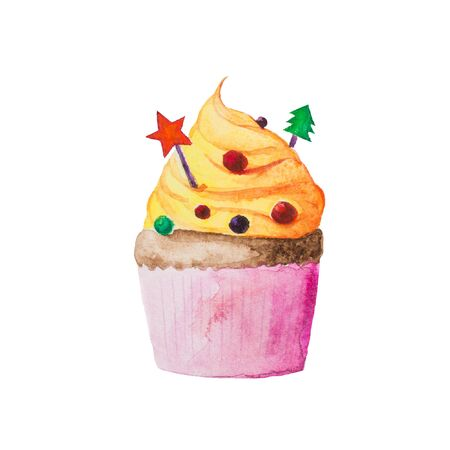 fairy cakes: Christmas and New Year cupcake with  yellow vanilla cream with christmas tree and star. Watercolor hand drawn illustration isolated on white. Sweet and tasty idea for cards, greeting, brochures etc