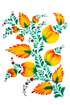 petrikovka: Traditional Ukrainian painting in Petrykivka style. Hand drawn Petrikovka illustration. Gouache painting. Good for stylised invitation, cards, banners, sites, textile