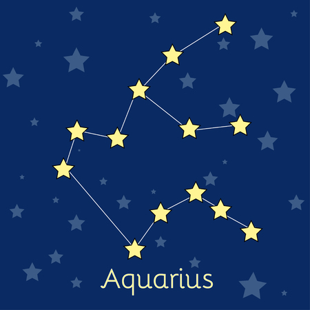 navy blue background: Aquarius Water Zodiac  constellation with stars in cosmos. Vector image with navy blue background and stars