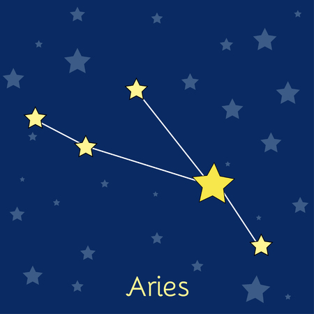 navy blue background: Aries Fire Zodiac  constellation with stars in cosmos. Vector image with navy blue background and stars