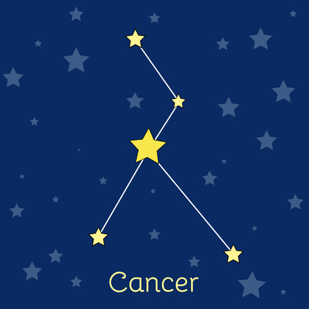 navy blue background: Cancer water Zodiac  constellation with stars in cosmos. Vector image with navy blue background and stars