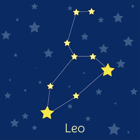 navy blue background: Leo Fire Zodiac  constellation with stars in cosmos. Vector image with navy blue background and stars