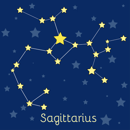 cosmo: Sagittarius Fire Zodiac constellation with stars in cosmos. Vector image with navy blue background and stars Illustration