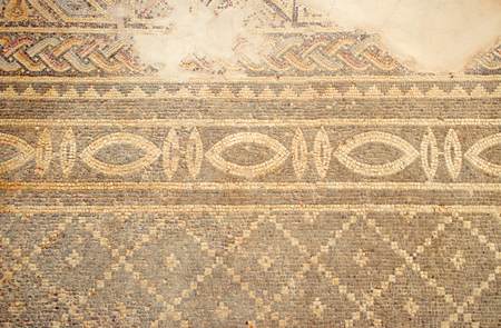 mosaic floor: Ancient floor mosaic dating at Phaphos archaeological park, Cyprus. Horizontal colorful image