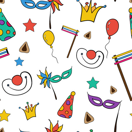 Hand drawn doodle elements set for Jewish holiday Purim: carnival masks, baloons, stars, hat and traditional Hamantaschen cookies isolated on white background. Happy Purim in Hebrew. Vector illustration good gor textile, sites, banners, brochures, greetin Illustration