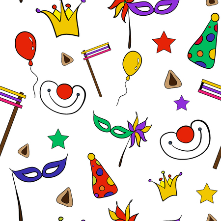 purim carnival party: Hand drawn doodle elements set for Jewish holiday Purim: carnival masks, baloons, stars, hat and traditional Hamantaschen cookies isolated on white background. Happy Purim in Hebrew. Vector illustration good gor textile, sites, banners, brochures, greetin Illustration