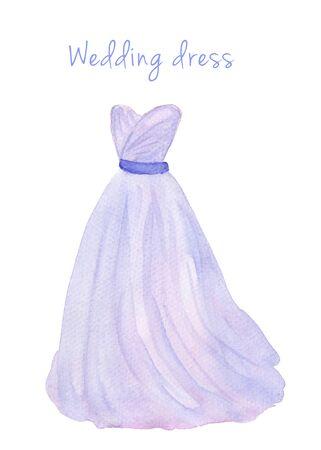 quartz: Watercolor wedding dress in popular serenity and quartz color. Hand drawn illustration