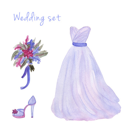 serenity: Watercolor wedding dress set  in popular serenity and quartz color. Hand drawn illustration