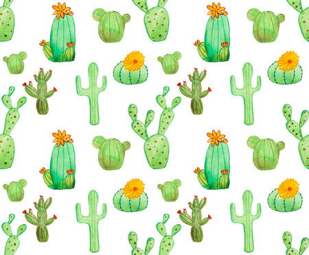 Watercolor hand drawn cactus seamless pattern. White background. Beautiful cute succulents with flowers. Ideal for sites, brochures, wedding invitation, card, banners etc.