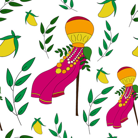 marathi: Happy Gudi Padwa colorful vector seamless pattern. Gudi and neem leavesVector illustration for indian New Year. Good for sites, brochures, paper, textile, cards