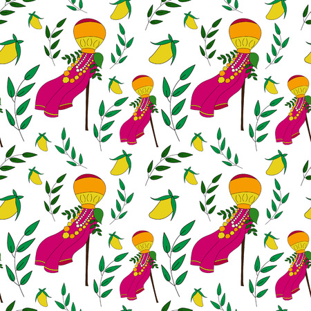 Happy Gudi Padwa colorful vector seamless pattern. Gudi and neem leavesVector illustration for indian New Year. Good for sites, brochures, paper, textile, cards