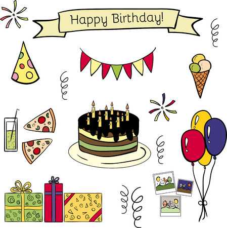 happy birthday candles: Happy birthday doodle hand drawn icon set. Funny and cute. Good illustration for scrapbooking, sites, textile, brochures, banners etc. With ice cream, pizza, cake, ribbon, balloons, gifts, photocards