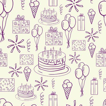 Bonne main doodle d'anniversaire dessinée pattern. Drôle et mignon. Bon pour scrapbooking, des sites, du textile, des brochures, des bannières, etc. Avec la crème glacée, pizza, gâteau, ruban, ballons, cadeaux, photocards