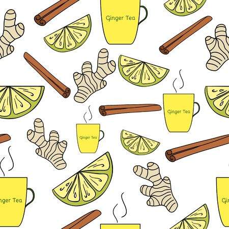 spicy food: Herbal tea seamless pattern. Ginger, Honey, Lemon. Hand drawn image. Ideal for banners, menu,backgrounds, textile, paper, sites etc Stock Photo