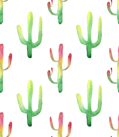 peyote: Watercolor hand drawn cactus succulent seamless pattern. White background. Beautiful cute succulents. Ideal for sites, fliers, flyers, brochures, wedding invitation, card, banners etc.