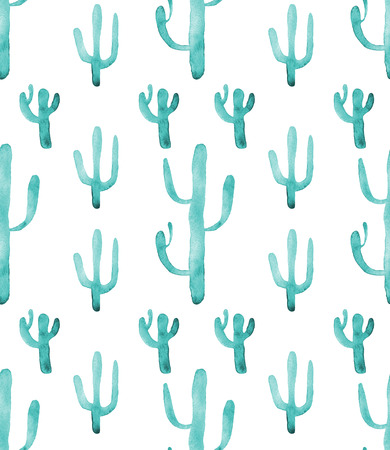 terrarium: Watercolor hand drawn cactus succulent turquoise seamless pattern. White background. Beautiful cute succulents. Ideal for sites, fliers, flyers, brochures, wedding invitation, card, banners etc.