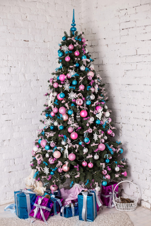 decorated christmas tree on white background with blue silver and pink decorations snowflakes ang - Blue And Silver Christmas Tree