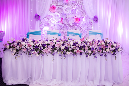 Beautiful wedding table with flower decoration in blue white beautiful wedding table with flower decoration in blue white purple and pink colors on the mightylinksfo