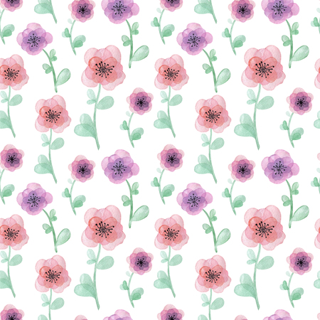 Watercolor hand drawn seamless pattern with flowers 免版税图像