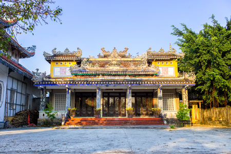 Chua Tan Thai famous buddhist pagoda and temple in Da Nang, Vietnam. A place to visit in Danang. Horizontal colorful image ideal for travel agencies, advertising, banners, web etc