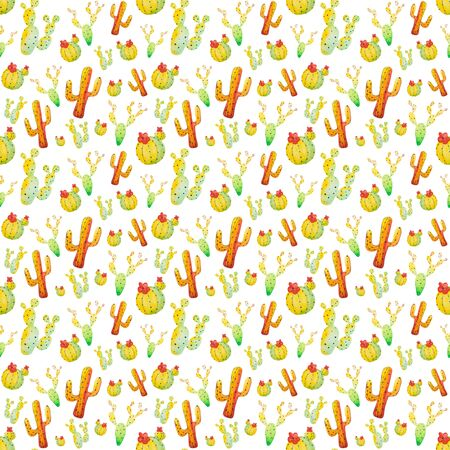 Watercolor hand painted cactus seamless pattern. Colorful vibrant green, red, orange and yellow cactus succulents for your design