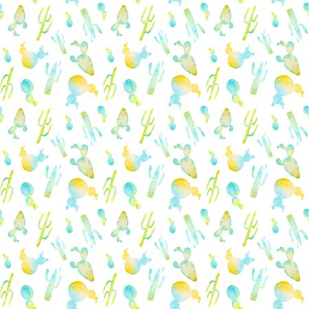 Watercolor hand painted cactus seamless pattern. Colorful vibrant turquoise and yellow cactus succulents for your design 免版税图像