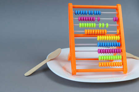 Childrens abacus on an empty white plate. Copy space - concept of economic problems, hunger, symbol, food, coronavirus consequences, finance