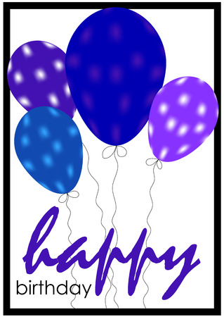 Greeting card with balloons. Birthday gift. Vector illustration