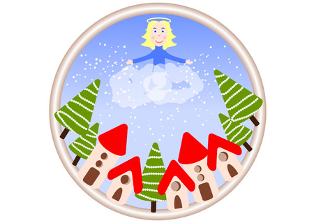 An angel in the clouds is throwing snow over the festive city. Christmas. New Year. Postcard in cartoon style. Illustration