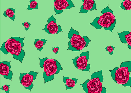 Buds of roses of different size on a green background.Vector illustration. Pattern for textiles and wallpaper.