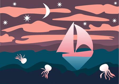 Seascape in a flat style. Sailboat, jellyfish, night sky with moon and stars. Vector illustration. Drawing for a print on fabric.