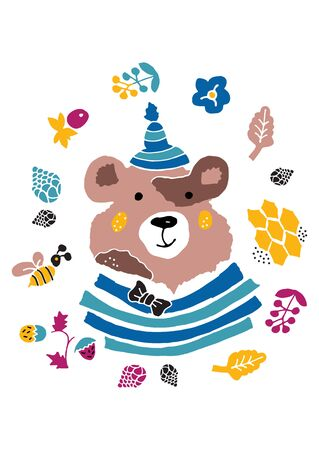 Cute forest bear in cartoon style. The idea of a print for children's clothing and baby supplies. Children's drawing. Vector illustration. 일러스트
