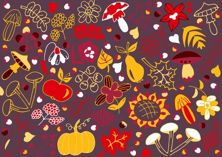 Colorful autumn background. The idea of a print for a pillow, duvet cover, mug, glass, packaging, wallpaper, watch. Autumn mood. Vector illustration.