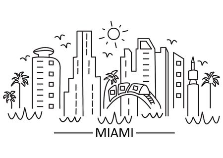 Miami city in line art style. Black and white cityscape. The idea of a print for a T-shirt, baseball cap, cover, diary cover. Vector illustration.