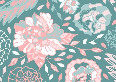 Doodle floral pattern. Background with roses, sheets and petals in pastel colors. Vector illustration.