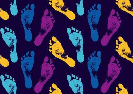 Seamless pattern with multicolored footprints. Creative background with foot prints. The idea of a print for fabric. Vector illustration.