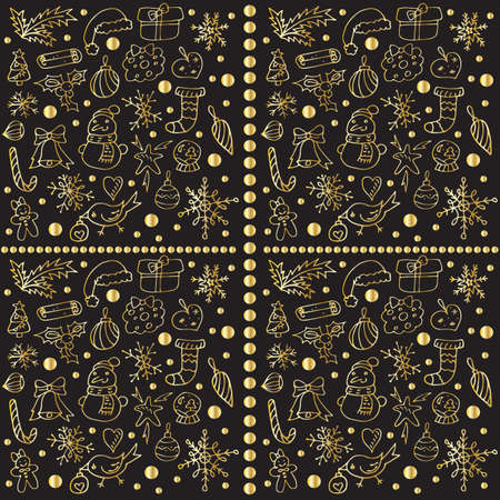Seamless Christmas pattern. Vector illustration. Golden elements on a black background. An interesting option for wrapping paper. Festive print. EPS-10. Illustration