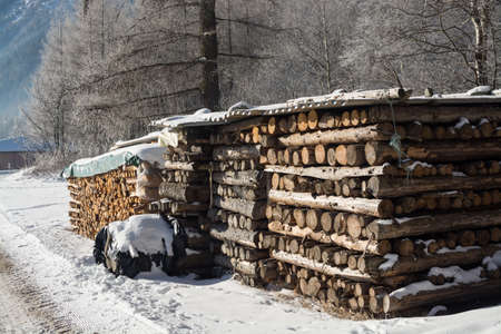 swept: winter firewood under snow against the background of a mountain landscape