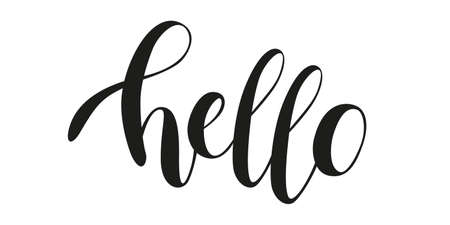 Vector lettering illustration Hello. Handwritten calligraphy phrase on white background. Text element with black inscription